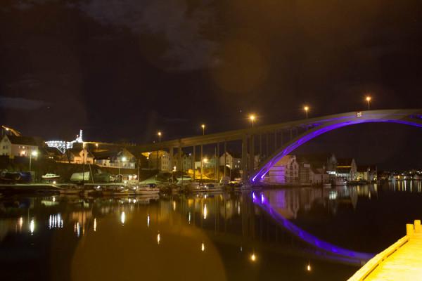 Haugesund at night.