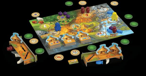 Spillebrettet til My First Stone Age hvor spillet er godt i gang.