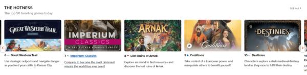 Utsnitt av Hotness-listen hvor Lost Ruins of Arnak er på 8. plass.